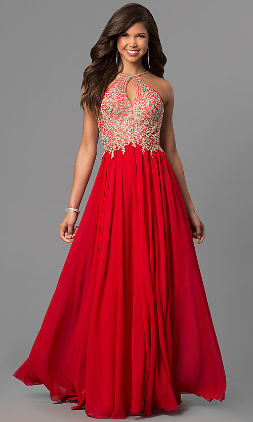 Image of long prom dress with lace-applique keyhole bodice. Style: DJ-5011 Detail Image 3