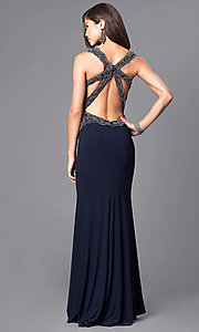 Image of navy blue beaded deep v-neck floor-length prom dress. Style: DJ-1729 Back Image