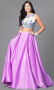 Two-Piece Prom Dress with Embroidered Lace Top