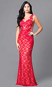 Red Lace Floor Length Prom Dress