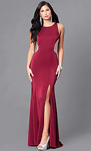 Image of long prom dress with open illusion back.  Style: DJ-5056 Front Image