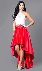 Image of two-piece high-low prom dress with lace bodice. Style: DJ-A4825 Front Image