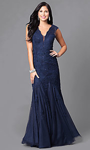 Low V-Neck Lace Prom Dress with Trumpet Hem Line