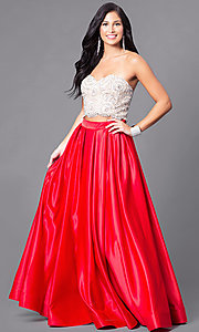 Twp-Piece Prom Dress with Beaded Strapless Top