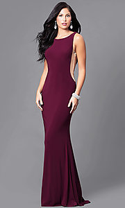 Floor-Length Burgundy Dave and Johnny Prom Dress with Back Cut Outs
