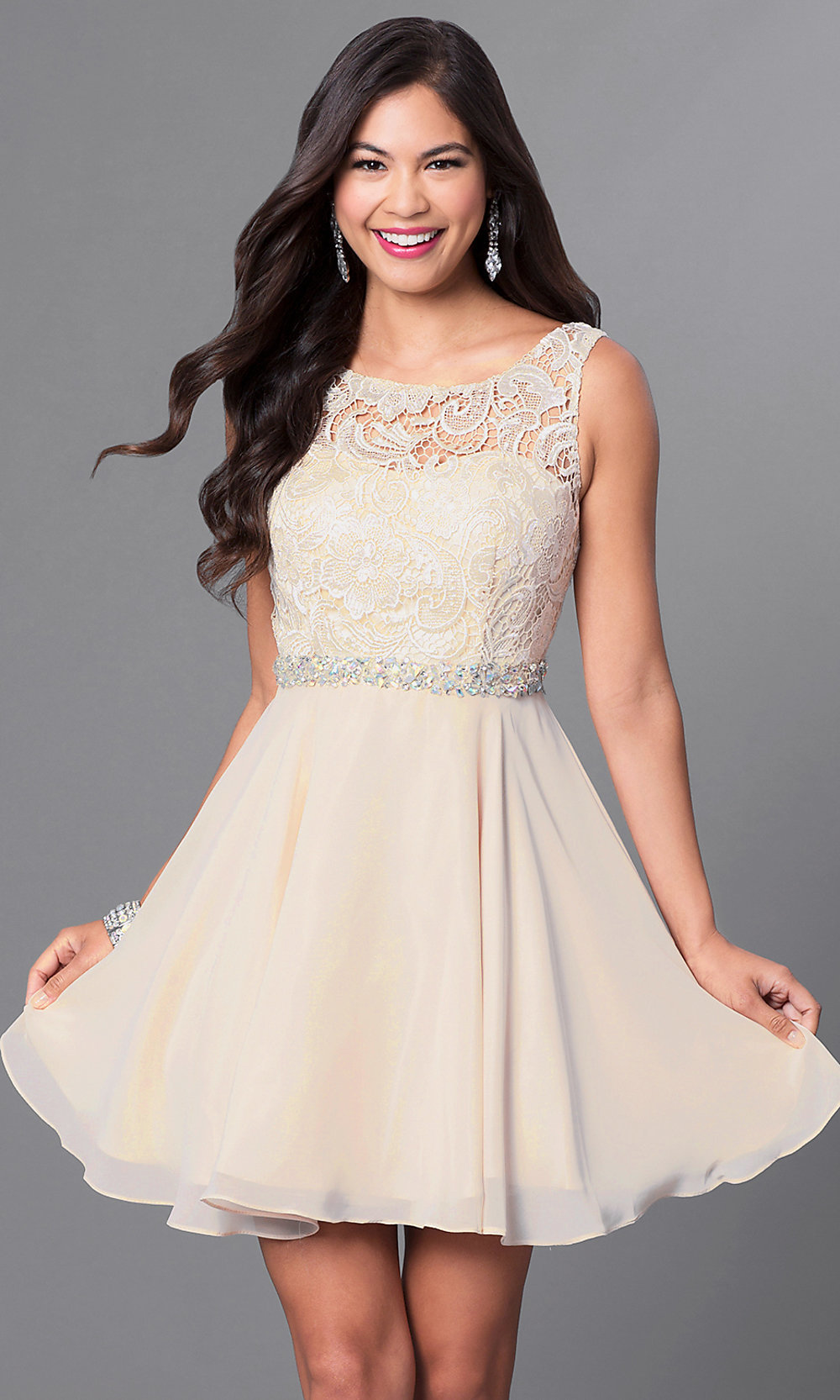 A Line Lace Bodice Short Homecoming Dress Promgirl