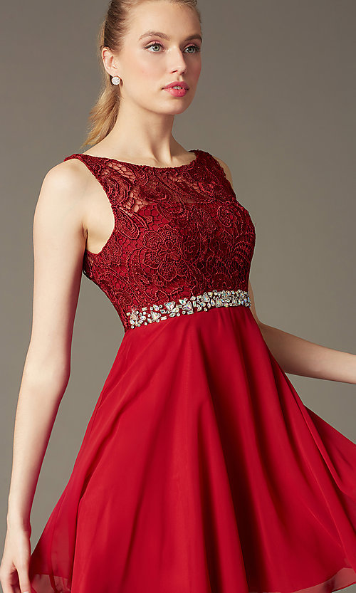 Image of short a-line homecoming dress with lace bodice. Style: DQ-9659 Detail Image 4