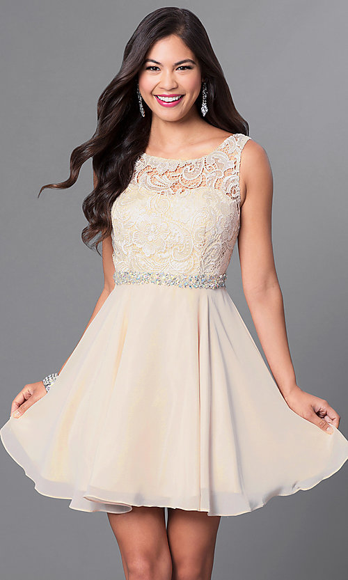 Image of short a-line homecoming dress with lace bodice. Style: DQ-9659 Detail Image 3