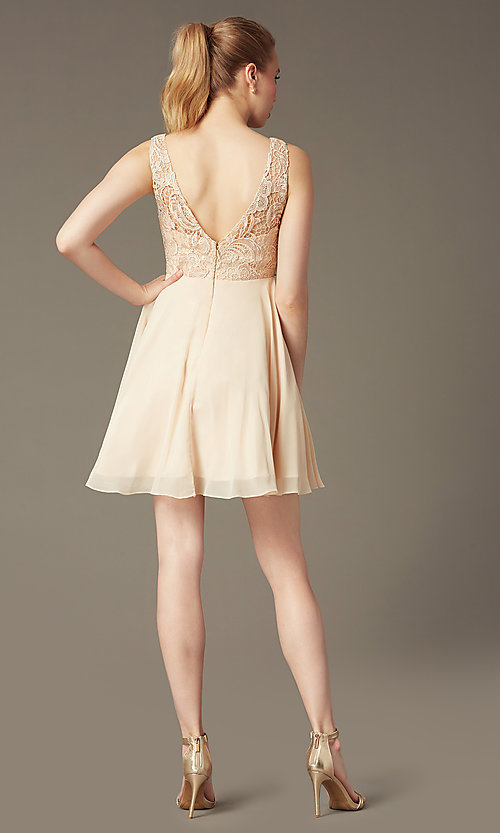 Image of short a-line homecoming dress with lace bodice. Style: DQ-9659 Detail Image 6