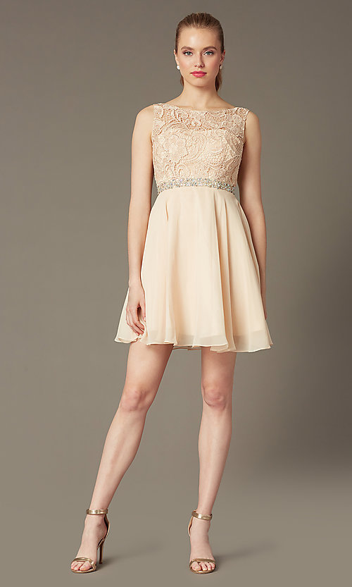 Image of short a-line homecoming dress with lace bodice. Style: DQ-9659 Detail Image 7