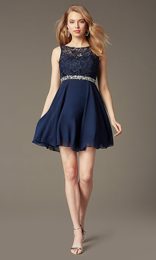 Image of short a-line homecoming dress with lace bodice. Style: DQ-9659 Front Image
