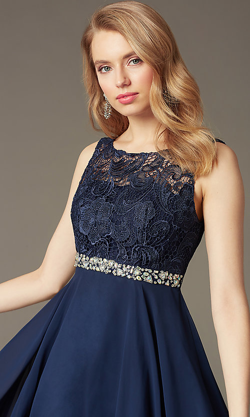 Image of short a-line homecoming dress with lace bodice. Style: DQ-9659 Detail Image 1