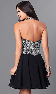 Image of high-neck embellished halter homecoming dress. Style: DQ-9662 Back Image