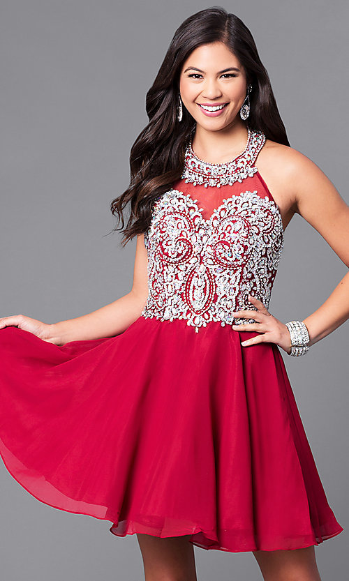 Image of high-neck embellished halter homecoming dress. Style: DQ-9662 Front Image