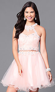 Image of mock two-piece rolled-hem babydoll party dress. Style: DQ-9631 Detail Image 1