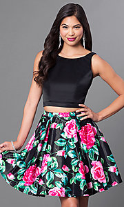 Image of floral print two-piece fit-and-flare homecoming dress. Style: DQ-9549 Front Image
