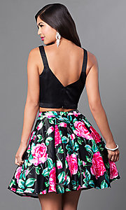 Image of floral print two-piece fit-and-flare homecoming dress. Style: DQ-9549 Back Image