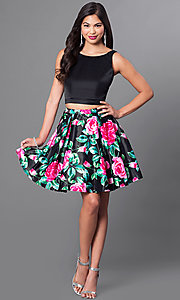 Image of floral print two-piece fit-and-flare homecoming dress. Style: DQ-9549 Detail Image 1
