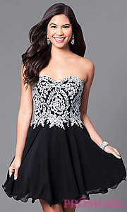 Image of a-line short homecoming dress with lace applique. Style: DQ-9596 Detail Image 2