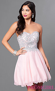 Image of a-line short homecoming dress with lace applique. Style: DQ-9596 Front Image