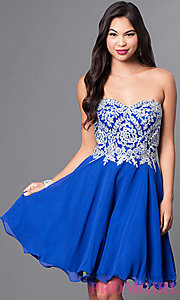 Image of a-line short homecoming dress with lace applique. Style: DQ-9596 Detail Image 1
