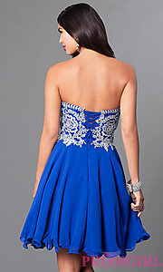 Image of a-line short homecoming dress with lace applique. Style: DQ-9596 Back Image