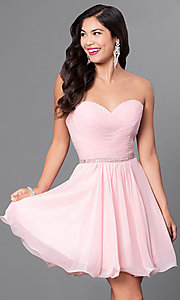 Image of ruched strapless corseted homecoming party dress.  Style: DQ-9581 Detail Image 3