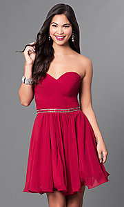 Ruched Strapless Corseted Homecoming Party Dress