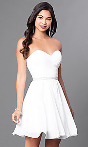 Image of ruched strapless corseted homecoming party dress.  Style: DQ-9581 Detail Image 2