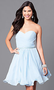 Image of ruched strapless corseted homecoming party dress.  Style: DQ-9581 Detail Image 1
