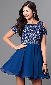Image of cold-shoulder short-sleeve a-line homecoming dress. Style: PO-7864 Front Image