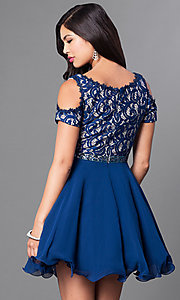 Image of cold-shoulder short-sleeve a-line homecoming dress. Style: PO-7864 Back Image