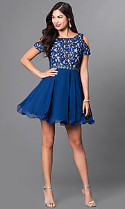 Image of cold-shoulder short-sleeve a-line homecoming dress. Style: PO-7864 Detail Image 1