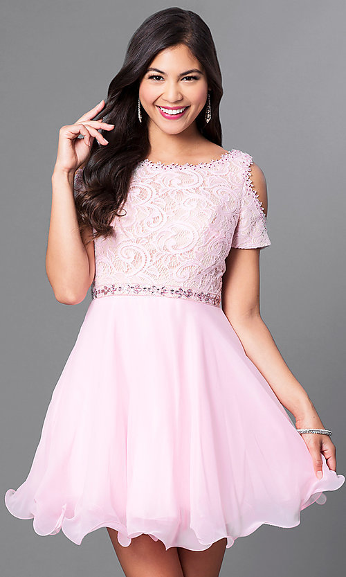 Image of cold-shoulder short-sleeve a-line homecoming dress. Style: PO-7864 Detail Image 3