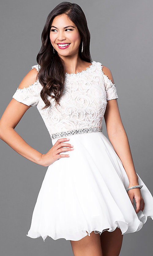 Image of cold-shoulder short-sleeve a-line homecoming dress. Style: PO-7864 Detail Image 2