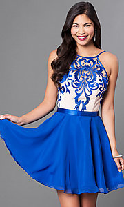 Image of embroidered illusion-bodice chiffon homecoming dress. Style: PO-7866 Detail Image 3