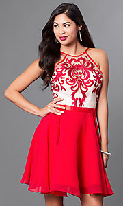 Image of embroidered illusion-bodice chiffon homecoming dress. Style: PO-7866 Front Image