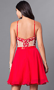 Image of embroidered illusion-bodice chiffon homecoming dress. Style: PO-7866 Back Image