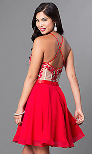 Image of embroidered illusion-bodice chiffon homecoming dress. Style: PO-7866 Detail Image 1