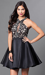 Image of short homecoming dress with racerback lace bodice. Style: PO-7870 Front Image