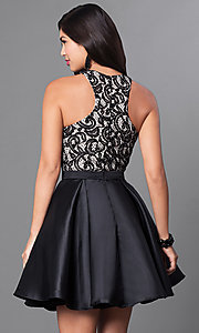 Image of short homecoming dress with racerback lace bodice. Style: PO-7870 Back Image