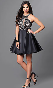Image of short homecoming dress with racerback lace bodice. Style: PO-7870 Detail Image 1