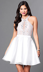 Image of short homecoming dress with racerback lace bodice. Style: PO-7870 Detail Image 2