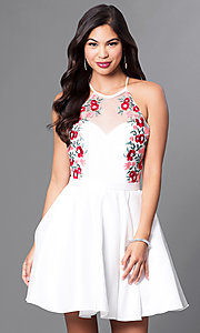 Embroidered-Illusion Sweetheart Homecoming Dress