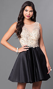 Image of short embellished lace-applique homecoming dress. Style: PO-7495 Front Image