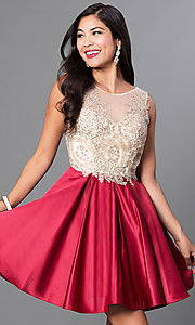 Image of short embellished lace-applique homecoming dress. Style: PO-7495 Detail Image 1