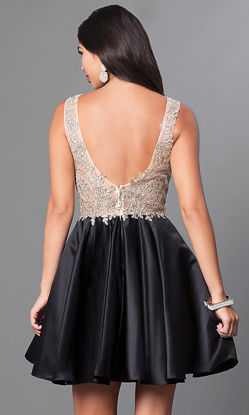 Image of short embellished lace-applique homecoming dress. Style: PO-7495 Back Image