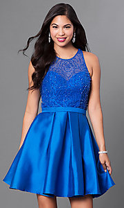 Beaded Cut Out Back Bodice Homecoming Dress