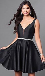 Image of v-neck short satin a-line homecoming dress. Style: PO-7894 Front Image