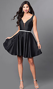 Image of v-neck short satin a-line homecoming dress. Style: PO-7894 Detail Image 1